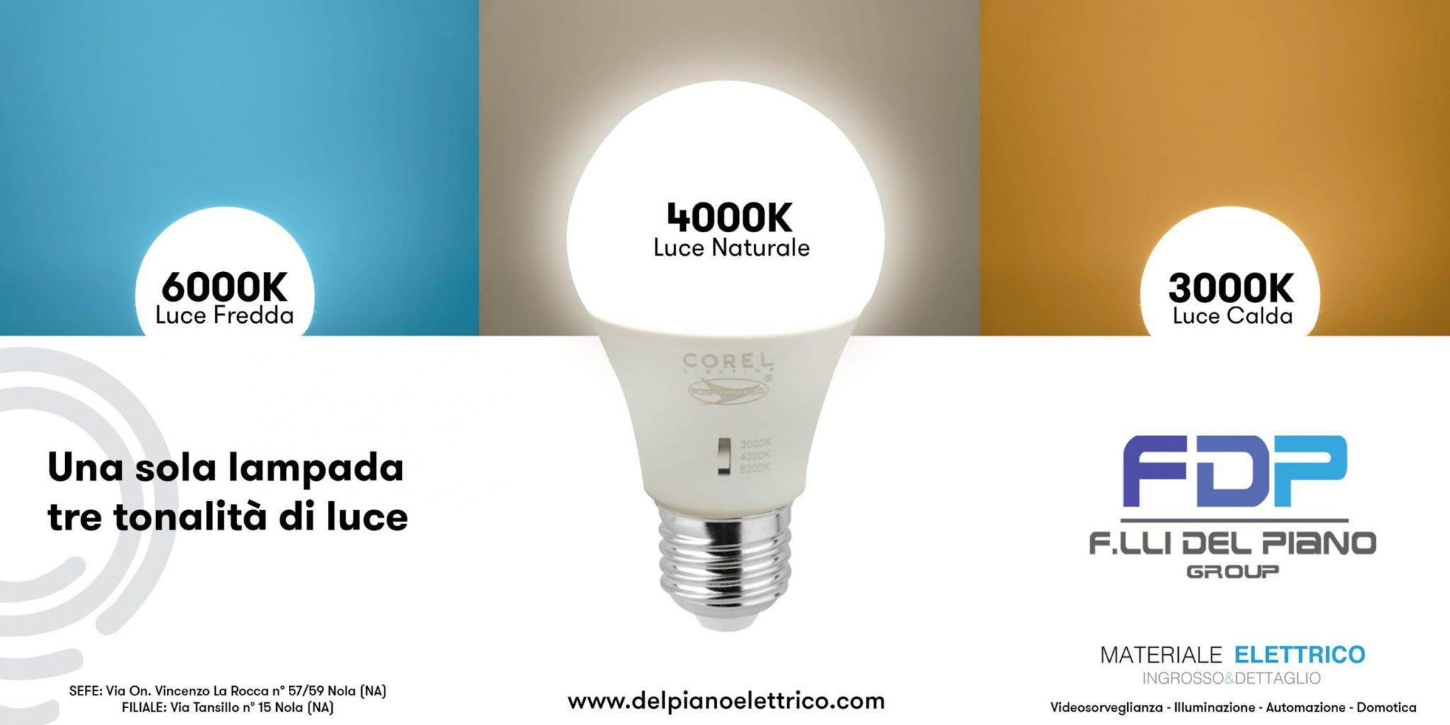 una lampadina tre tonalità di luce