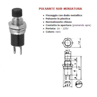 MINIATURE PUSH BUTTON BLACK SUB MICRO 1A 250V OPEN